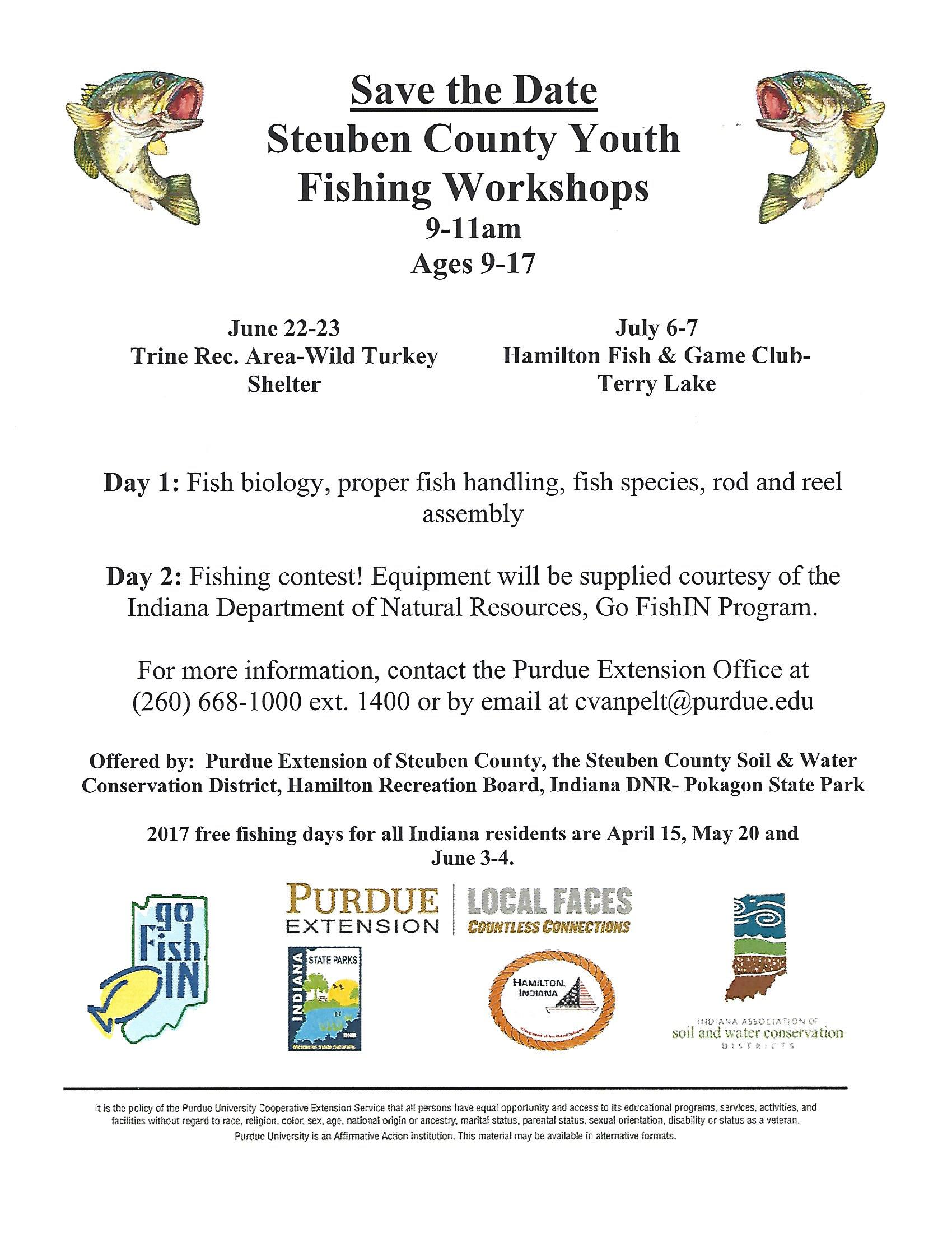Indiana steuben county hamilton - Steuben County Youth Fishing Workshops